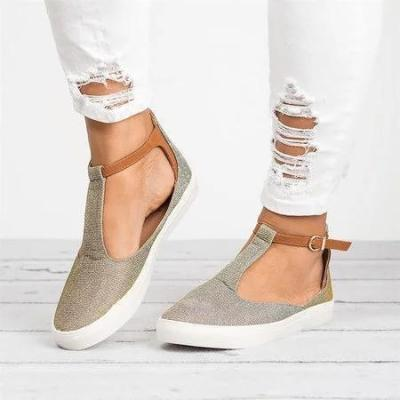 Round Toe Shoes with Adjustable Buckle Sandals