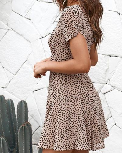 Women Elegant Ruffled Short Sleeve Summer V Neck Slim Fitted Dress