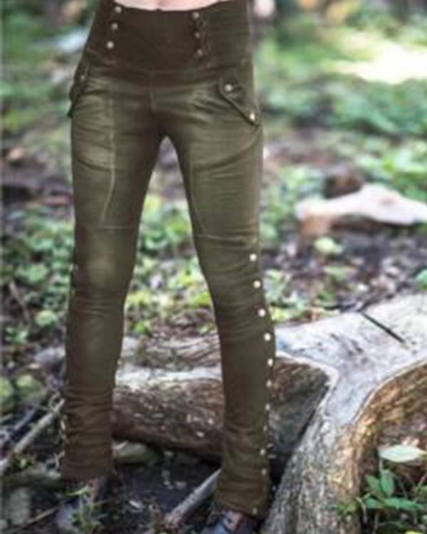 Women's Casual Pockets Solid Pants