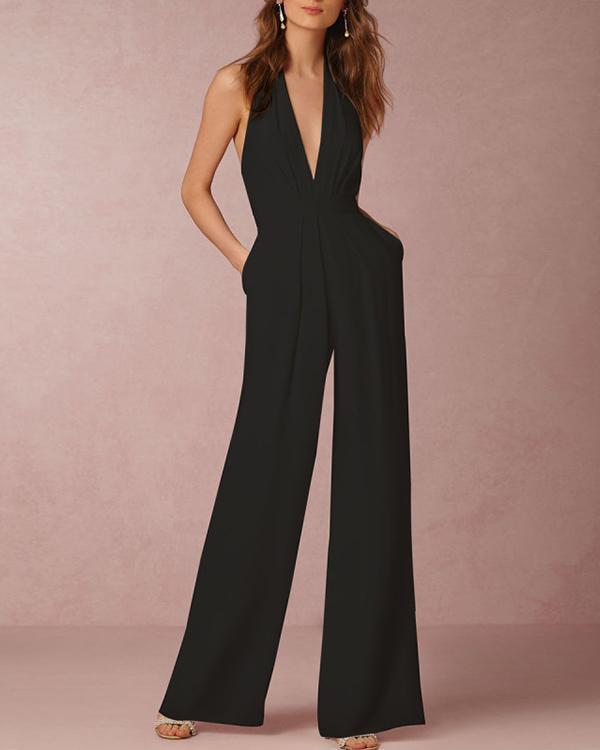Halter Pocket Plain Wide-Leg Jumpsuit
