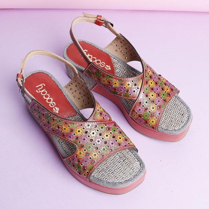 Candy Color  Hollow Flowers Pattern Platform Buckle Strap Sandals
