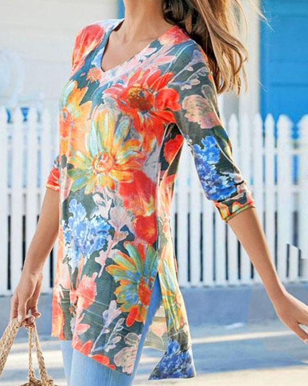 Slit Floral Print V Neck Long Sleeve T-shirts Tops