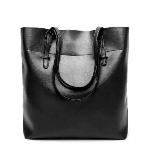 Women Oil Leather Handbags Casual Solid Color Shoulder Bags