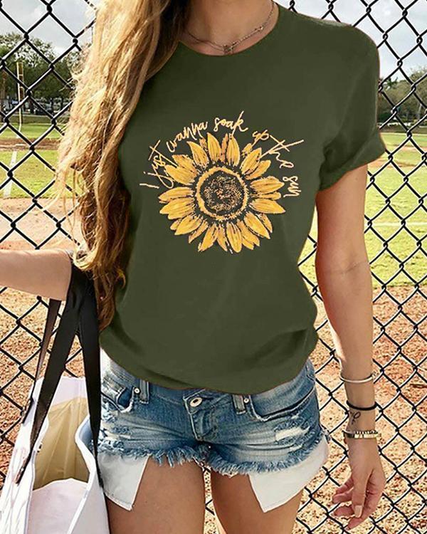 Sunflower Printed Daily T Shirt Summer Tee