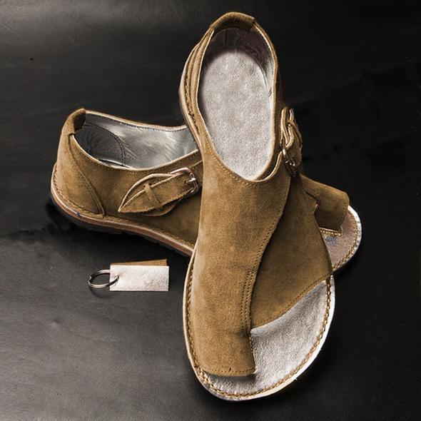 Women Fashion Buckle Suede Summer Flat Sandals