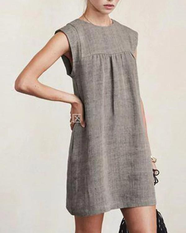 Women Casual Linen Solid Dresses