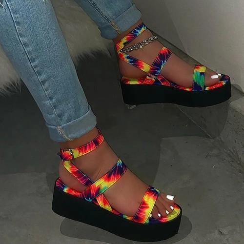 Open Toe Platform Strappy Buckle Platform Sandals