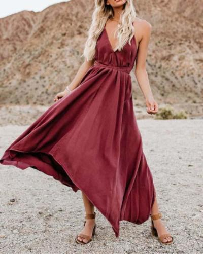 Casual Sleeveless V-Neck Solid Color Maxi Dresses
