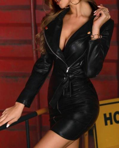 Women Sexy Long Sleeve Bodycon PU Leather Mini Dress