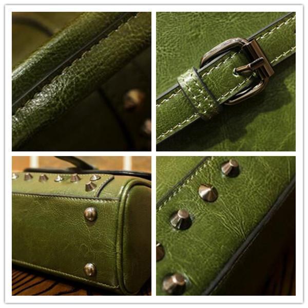Women Elegant Cowhide Boston Style Handbag