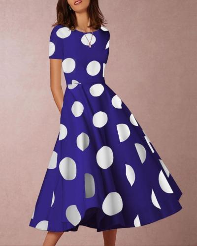 Sexy Round Neck Short Sleeve Polka Dot Print Maxi Dress