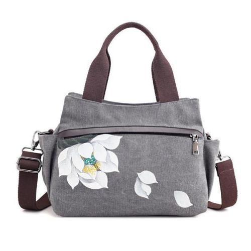 Lotus Canvas Tote Handbag