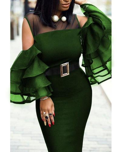 Round Neck Plain Bodycon Midi Dress