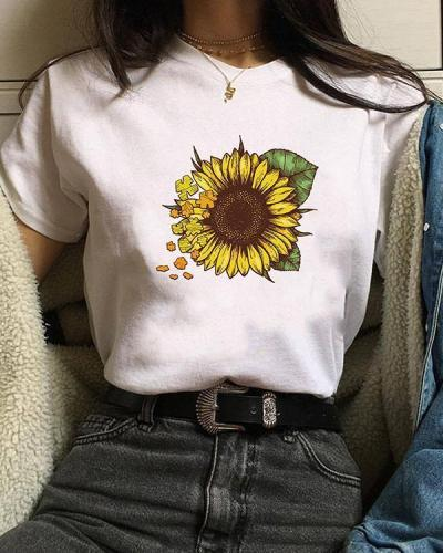 Women Print Sunflower T-shirt Ladies Short Sleeve Daily Tops