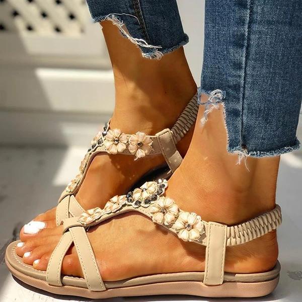 Flower Embellished Flat Sandals