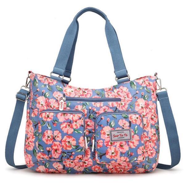 Waterproof Floral Print Crossbody Bag Large Capacity Tote Bag
