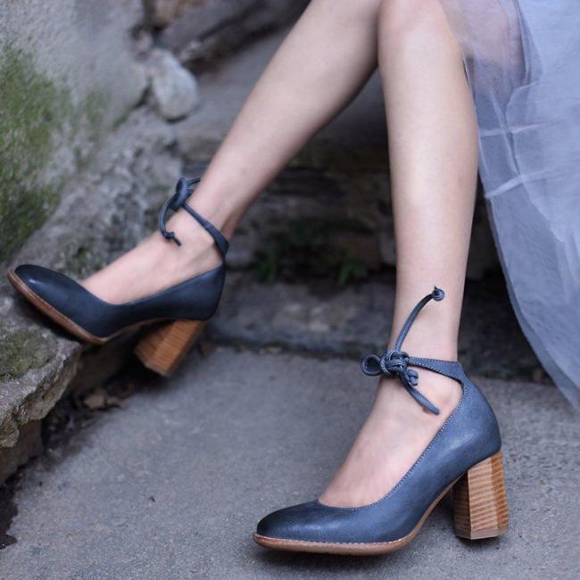 Women's Elegant Chunky Heel Lace-Up Sandals