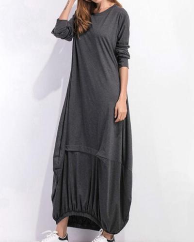 Cocoon Women Daily Cotton Long Sleeve Casual Paneled Plain Fall Maxi Dress