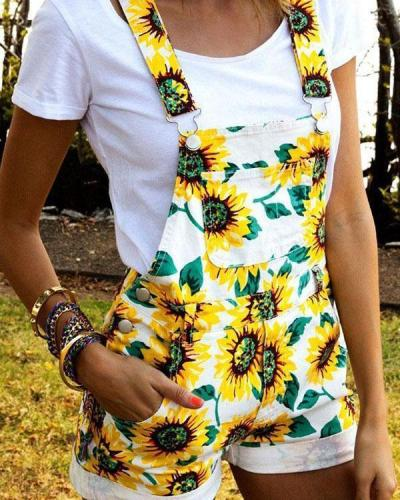 Holiday Sunflower Print Buckle Side Pockets Paneled Romper