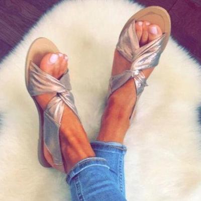 Women Summer Beach Shoes Strap Peep Toe Flat Sandals