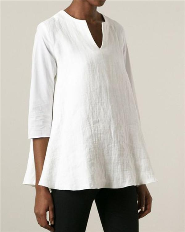 Casual Solid V Neck Half Sleeve Blouses Tops