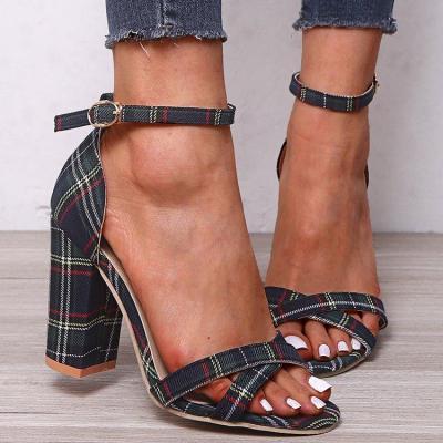 Women's Fashion Plaid High Heels Pumps Sandals