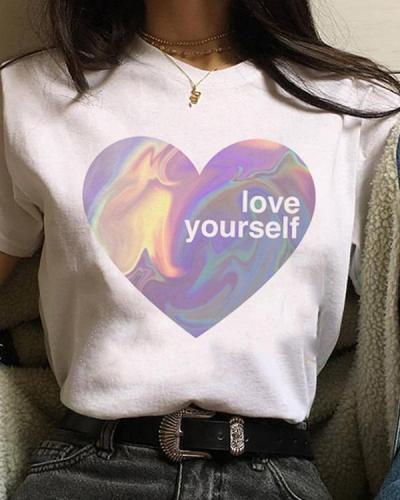 Print T-shirt Ladies Short Sleeve Cute Cartoon Tops