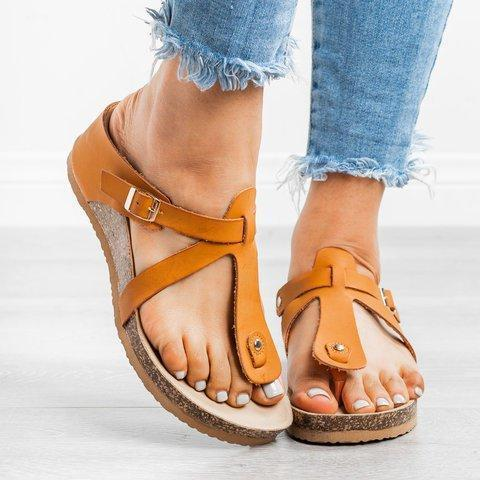 Thong Wedge Sandals Pu Wedge Heel Summer Slippers