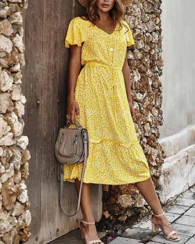 Floral Dress Frill Short Sleeve Elegant Ladies Beach Dresses