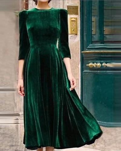 Army Green Vintage Velvet Maxi Dresses