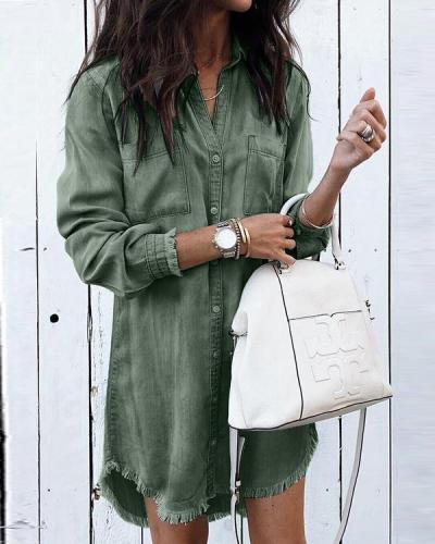 Women Casual Denim Shirt Dress Long Sleeve Loose Shirt Mini Dress