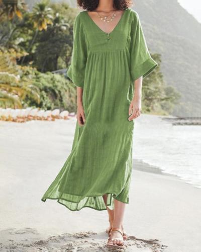 Plus Size Solid V Neck Women Dresses Shift Daytime Dresses