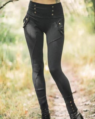 Women's Autumn Pocket Buttons Decorative Leggings