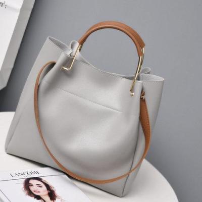 Womens Large Capacity Simple Zipper PU Casual  Shoulder Bags