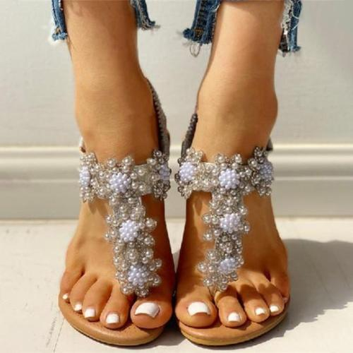 Bohemian Rhinestone Beaded Ethnic Flip-Flop Sandals