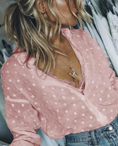 Fashion V-Neck Long Sleeve Casual Shirts Blouses