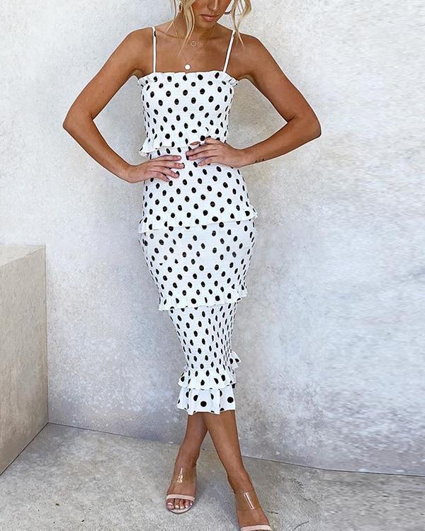 Women's Summer Polka Dot Print Party Midi Dress