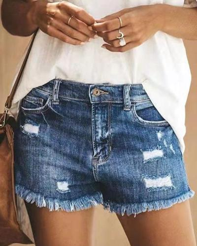 Women Distressed Stretchy Denim Jeans Shorts