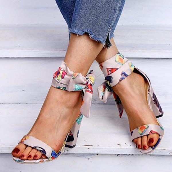 Women's Elegant Casual Flower Print Heel Sandals