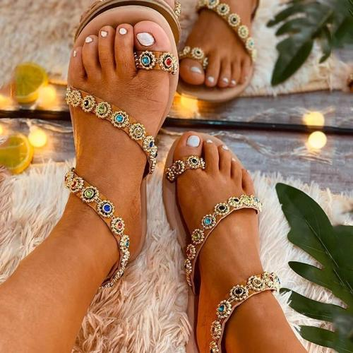 Women Large Size Summer Rhinestone Flat Sandals