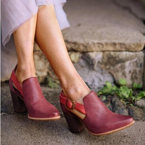 Women Casual Vintage Chunky Heel Booties Sandals Buckle Shoes