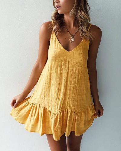 Sexy Solid Color V Neck Backless Sling Dress