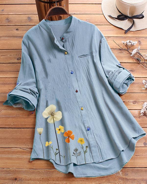 Flower Print Colorful Button Long Sleeve Shirt For Women