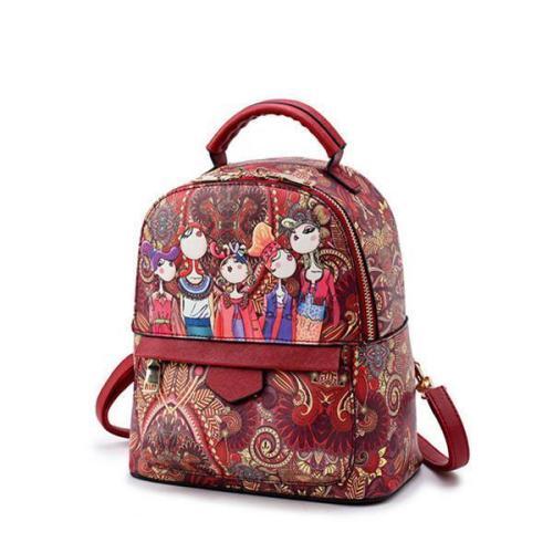 Bohemian Forest Green Print School Bag Travel Backpack