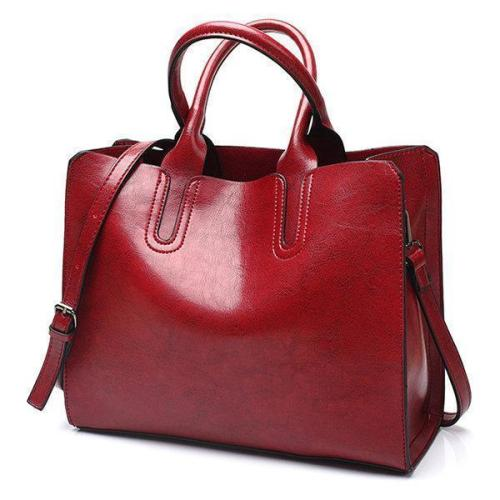 Vintage Oil Wax PU Leather Handbag