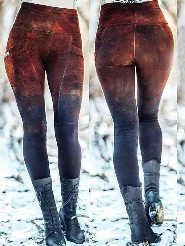 Women's Retro Colorblock Stretch Leggings Pants