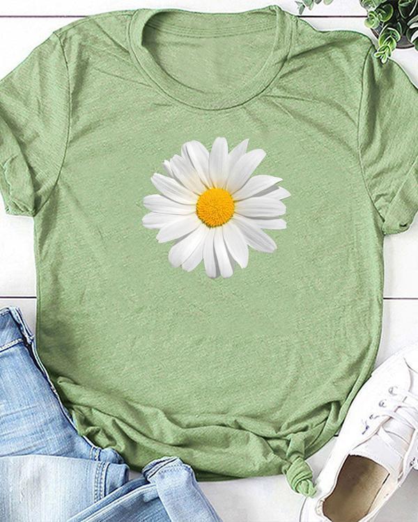 Flower Print T-shirt Ladies Short Sleeve Daily Tops