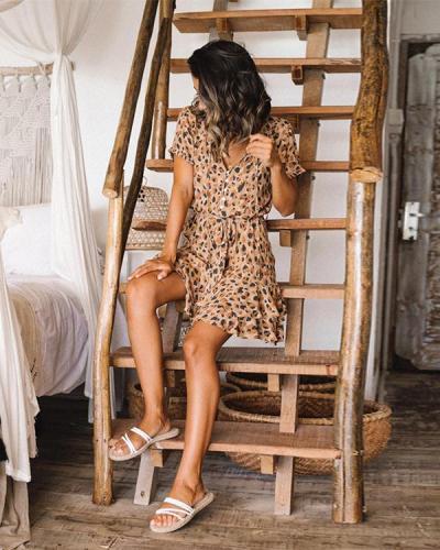 Leopard Print Single-Breasted Short-Sleeved Ruffled Mini Dress