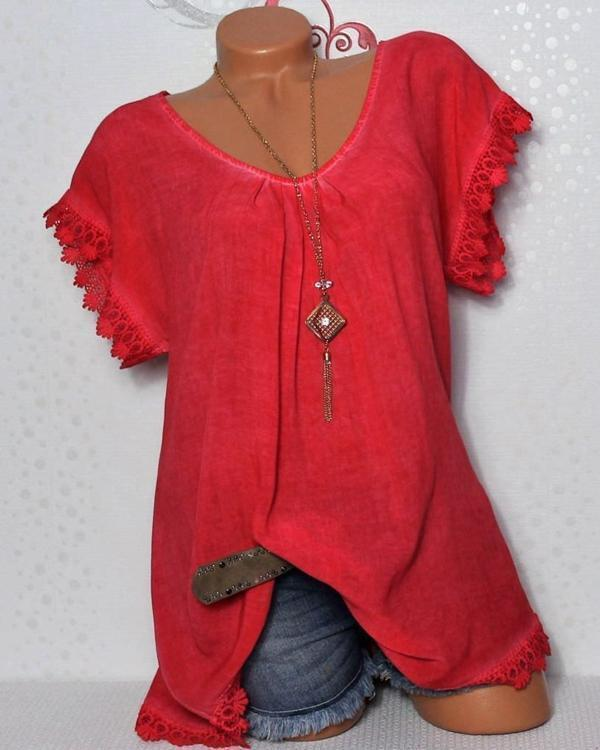 Women Short Sleeve Solid V Neck Basic Casual  Plus Size T-Shirt Tops