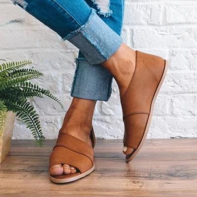 Large Size Peep Toe Flats Slip On Flat Heel Shoes